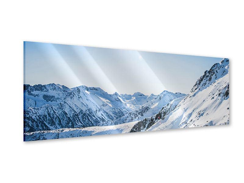 Acrylglasbild Panorama Bergpanorama im Schnee