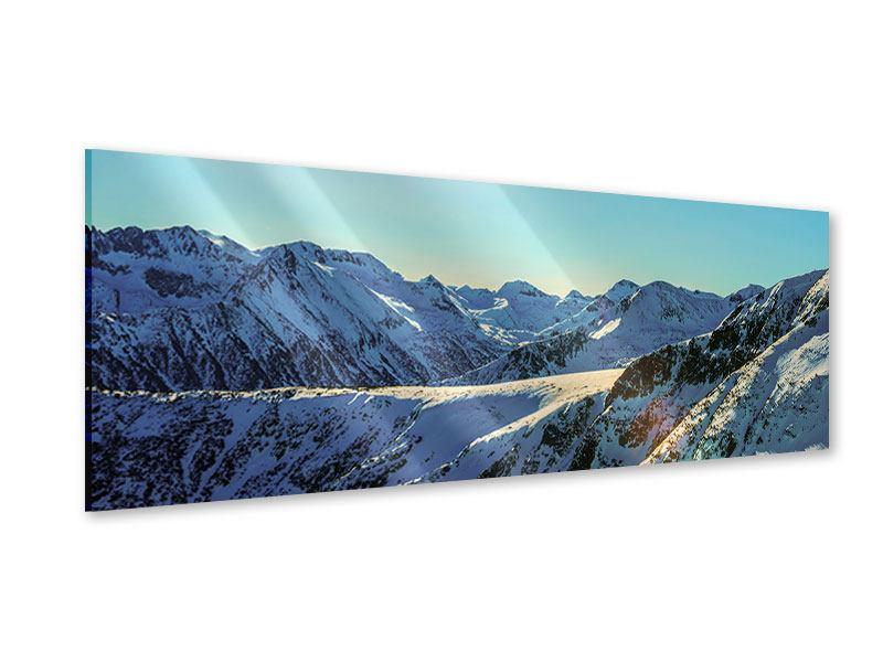 Acrylglasbild Panorama Sonnige Berggipfel im Schnee