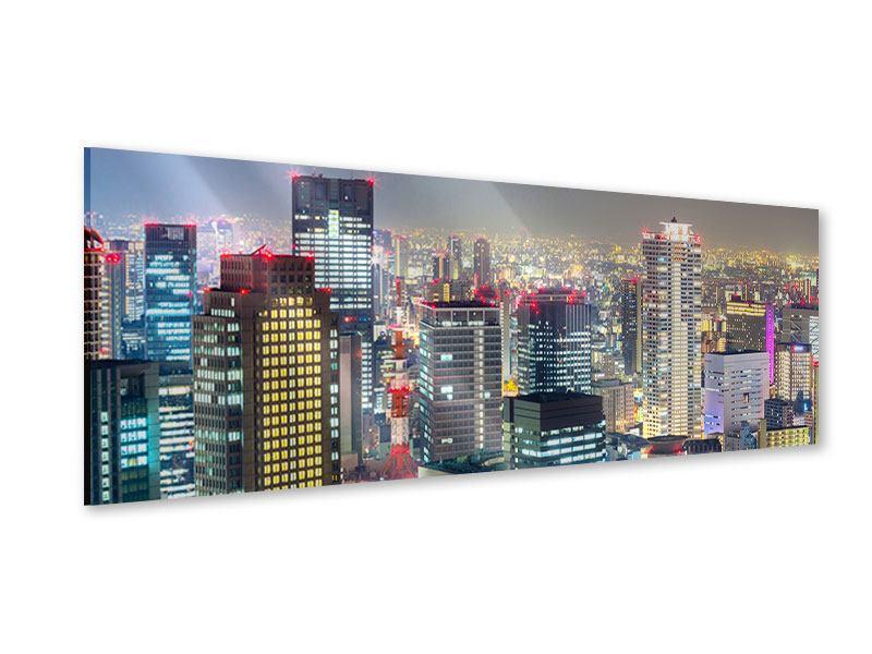 Acrylglasbild Panorama Skyline Osaka im Lichtermeer
