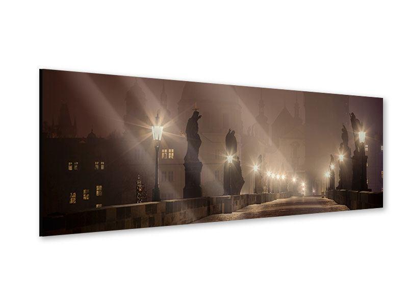 Acrylglasbild Panorama Die Karlsbrücke bei Nacht