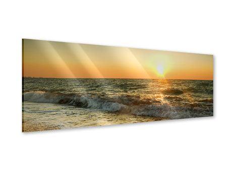 Acrylglasbild Panorama Sonnenuntergang am Meer