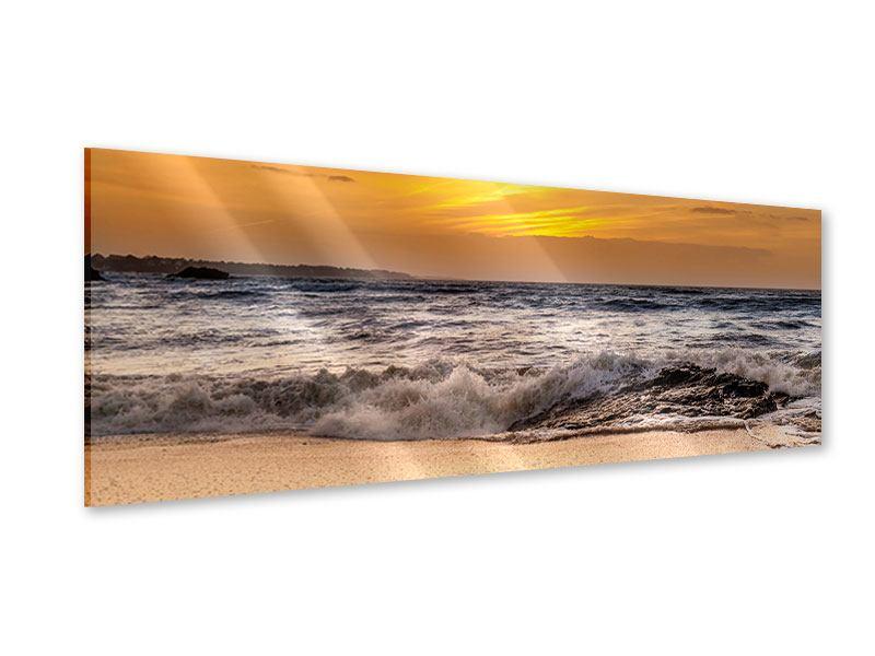 Acrylglasbild Panorama See mit Sonnenuntergang