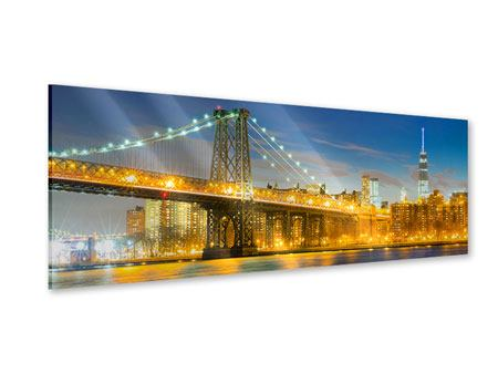Acrylglasbild Panorama Brooklyn Bridge bei Nacht