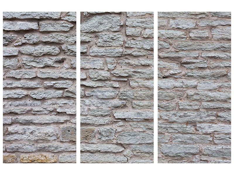 Acrylglasbild 3-teilig Steinmauer