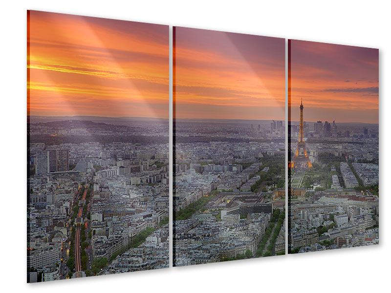 Acrylglasbild 3-teilig Skyline Paris bei Sonnenuntergang