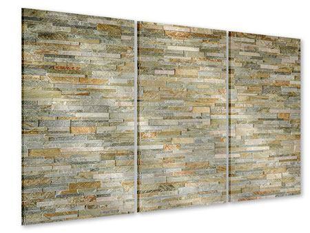 Acrylglasbild 3-teilig Edle Steinmauer