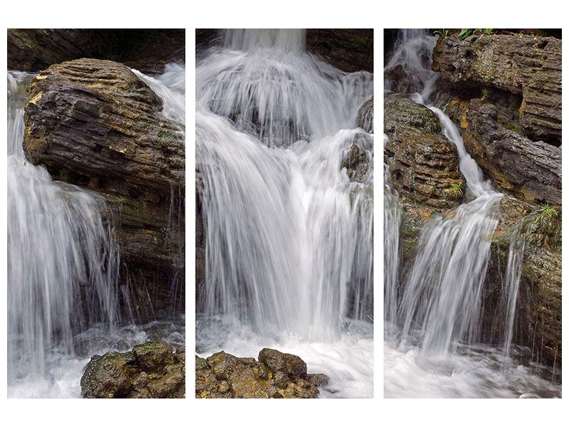 Acrylglasbild 3-teilig Wasserfall XXL