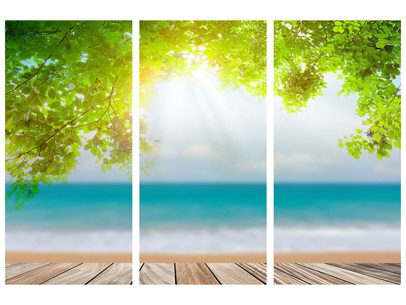 Acrylglasbild 3-teilig Strandterrasse