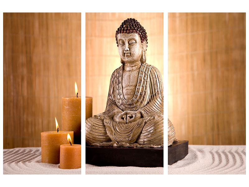 Acrylglasbild 3-teilig Buddha in der Meditation
