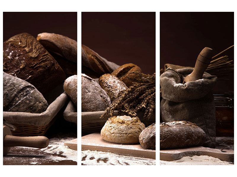 Acrylglasbild 3-teilig Brotbäckerei