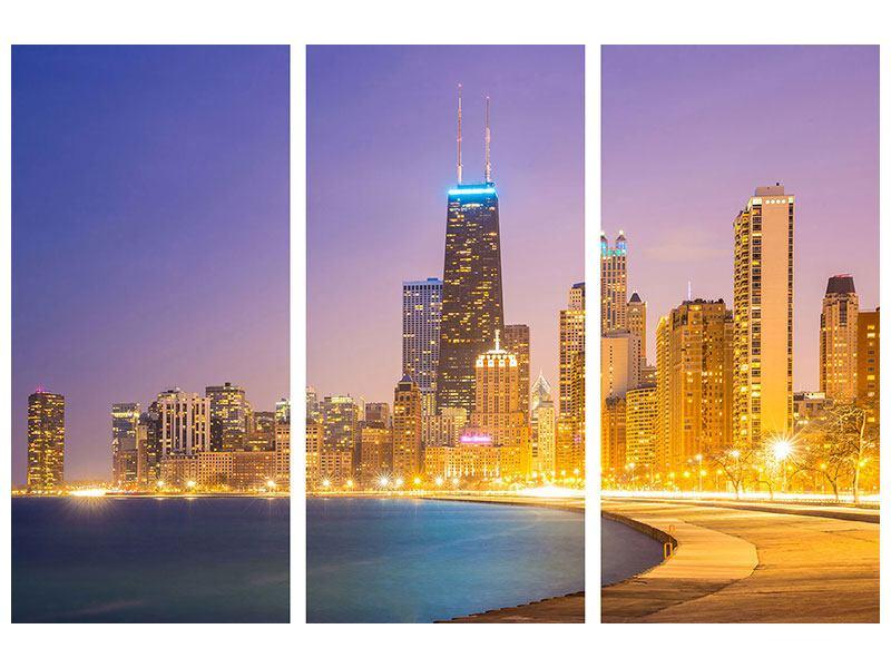 Acrylglasbild 3-teilig Skyline Chicago in der Nacht