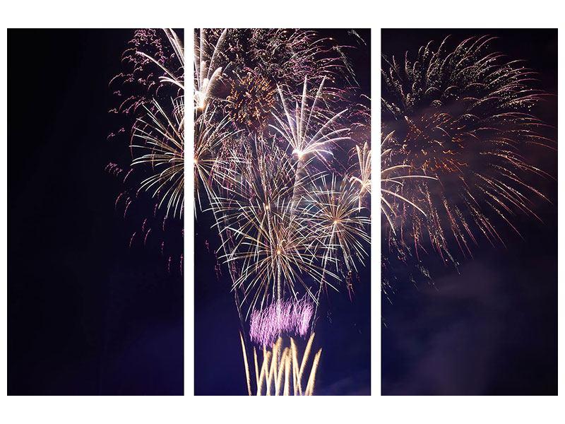 Acrylglasbild 3-teilig Feuerwerk