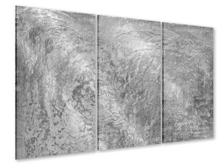 Acrylglasbild 3-teilig Wischtechnik in Grau