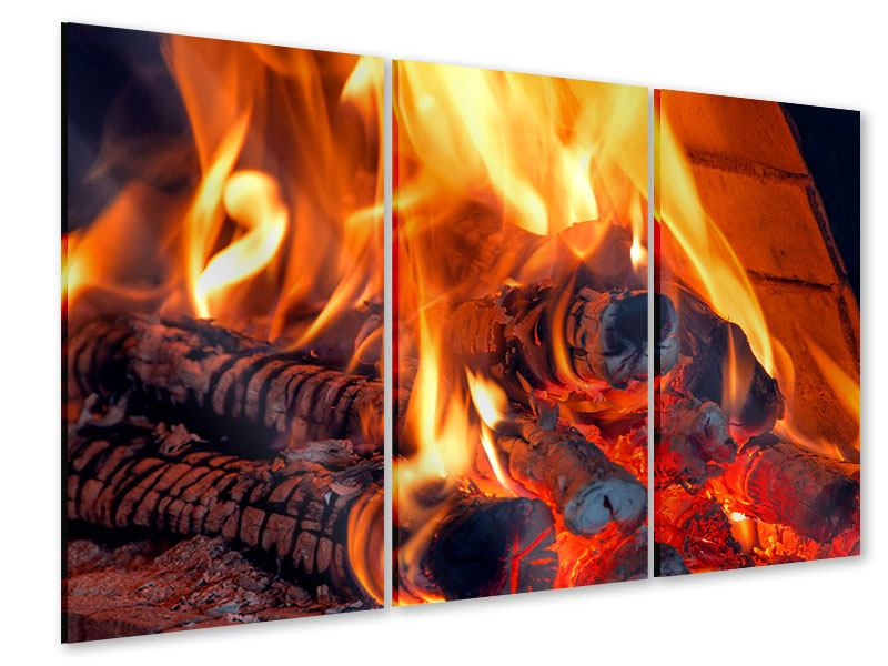 Acrylglasbild 3-teilig Lagerfeuer