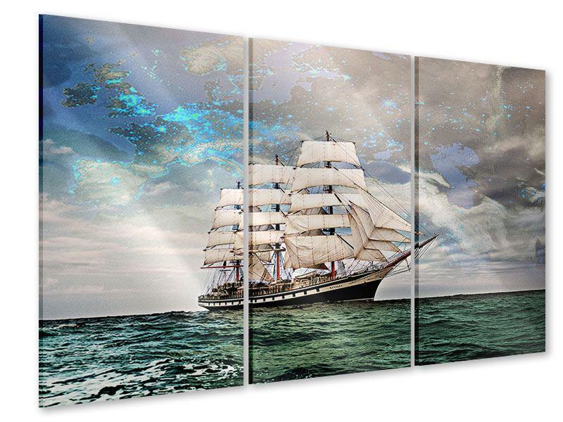 Acrylglasbild 3-teilig Segelschiff