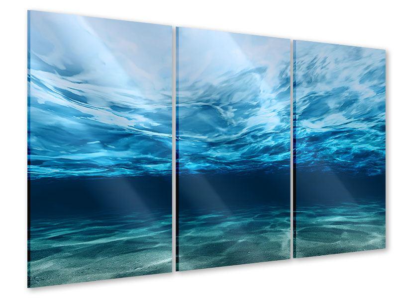 Acrylglasbild 3-teilig Lichtspiegelungen unter Wasser