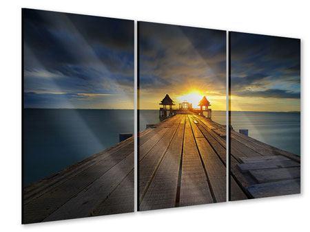 Acrylglasbild 3-teilig Der Sonnenuntergang bei der Holzbrücke