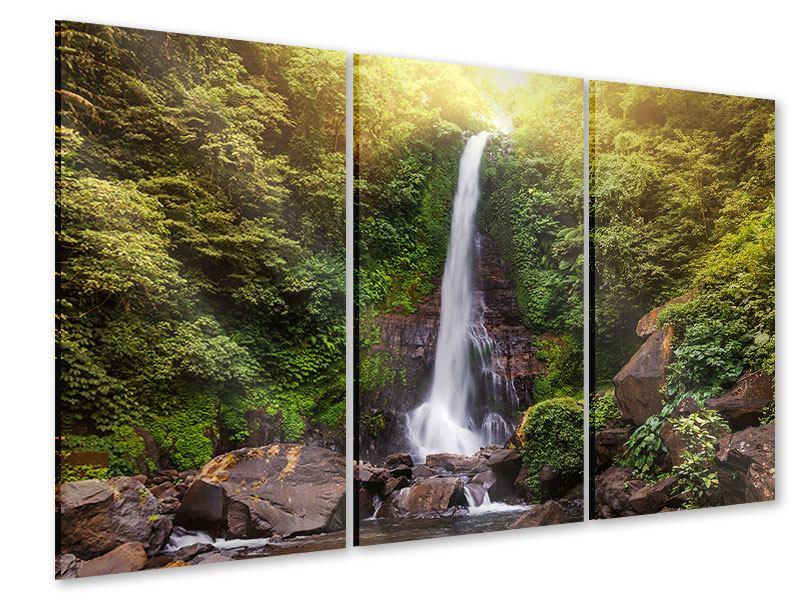 Acrylglasbild 3-teilig Wasserfall Bali