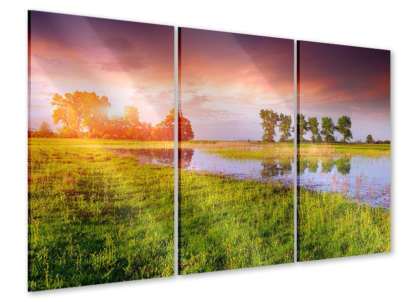 Acrylglasbild 3-teilig Sonnenuntergang am See