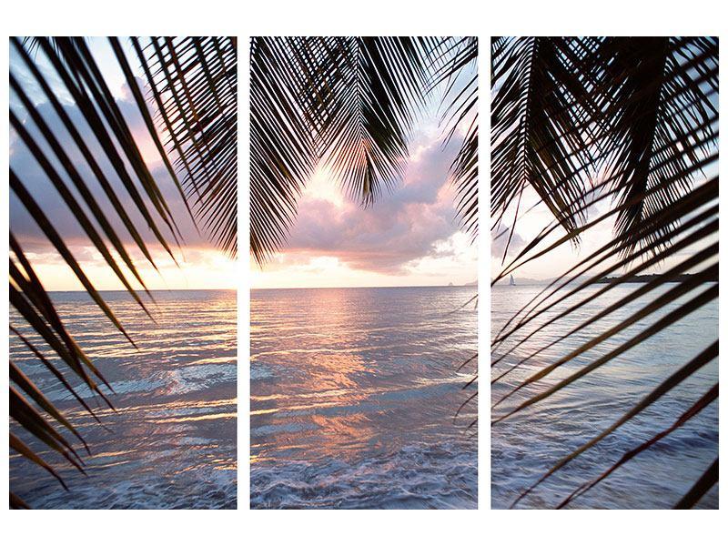 Acrylglasbild 3-teilig Unter Palmenblätter