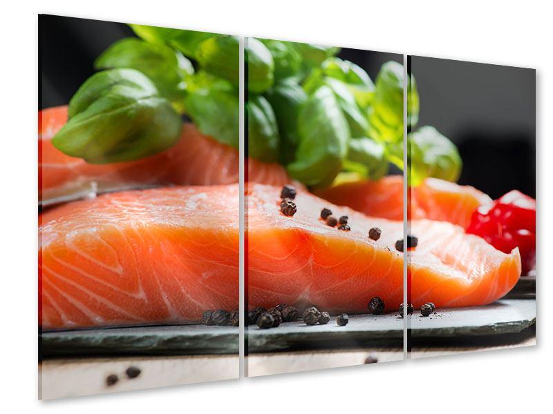 Acrylglasbild 3-teilig Frischer Fisch