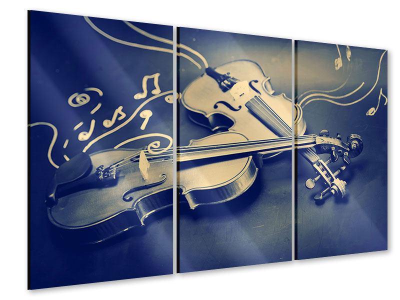 Acrylglasbild 3-teilig Geigen