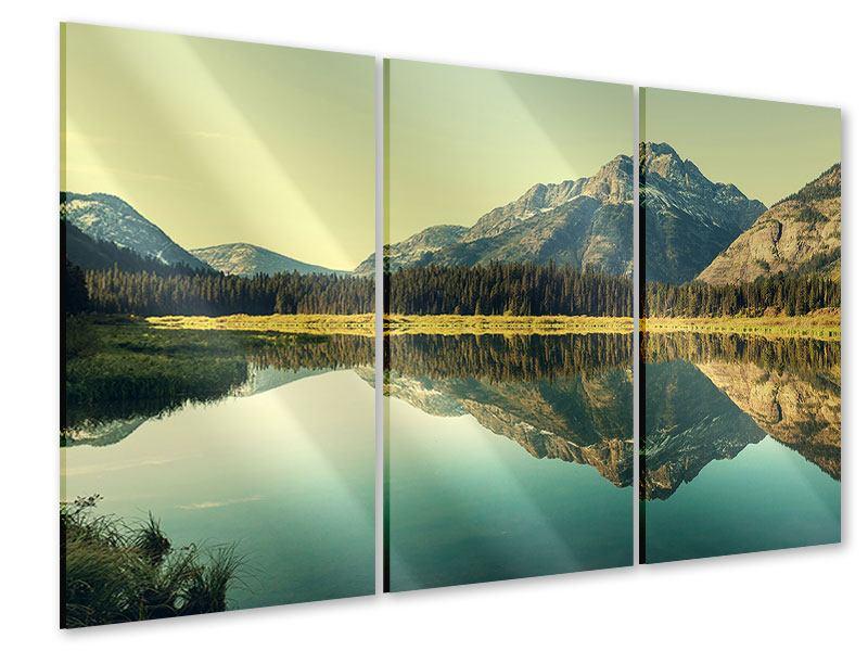 Acrylglasbild 3-teilig Der Bergsee