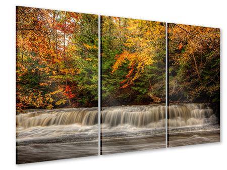 Acrylglasbild 3-teilig Herbst beim Wasserfall