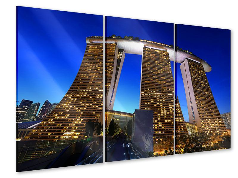 Acrylglasbild 3-teilig Wolkenkratzer Singapur