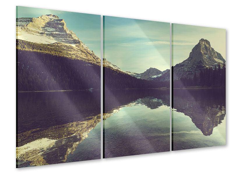 Acrylglasbild 3-teilig Spiegelung im Bergsee