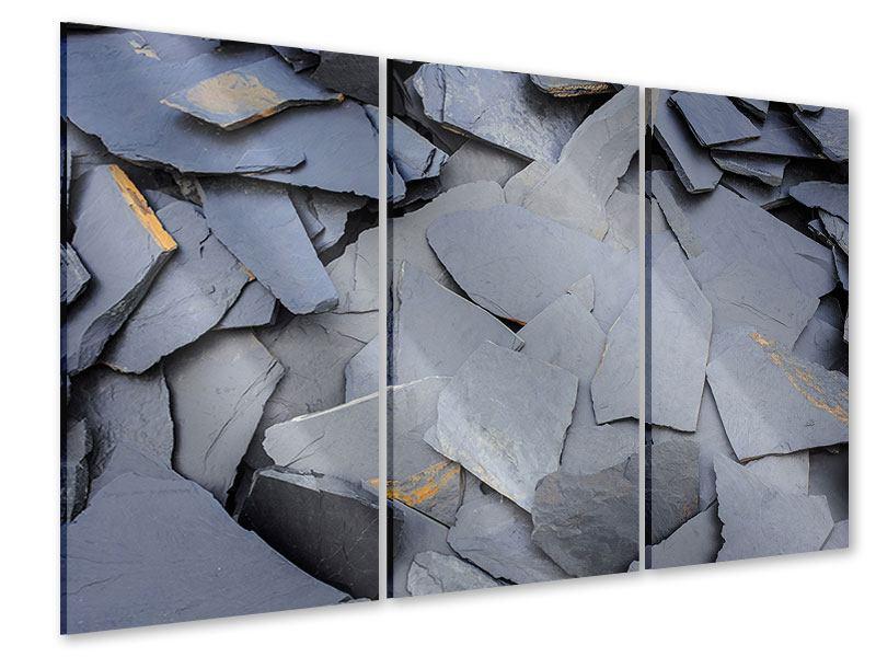 Acrylglasbild 3-teilig Schieferplatten