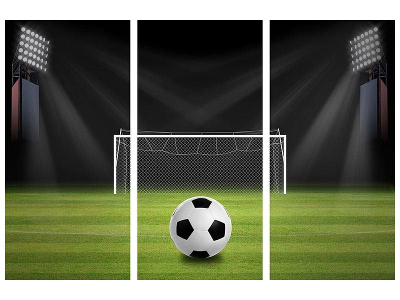 Acrylglasbild 3-teilig Fussball-Tor
