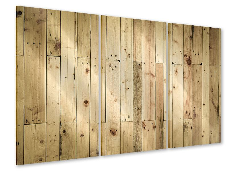 Acrylglasbild 3-teilig Holzpaneelen