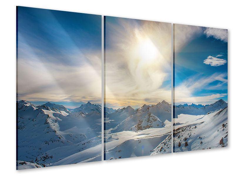 Acrylglasbild 3-teilig Über den verschneiten Gipfeln