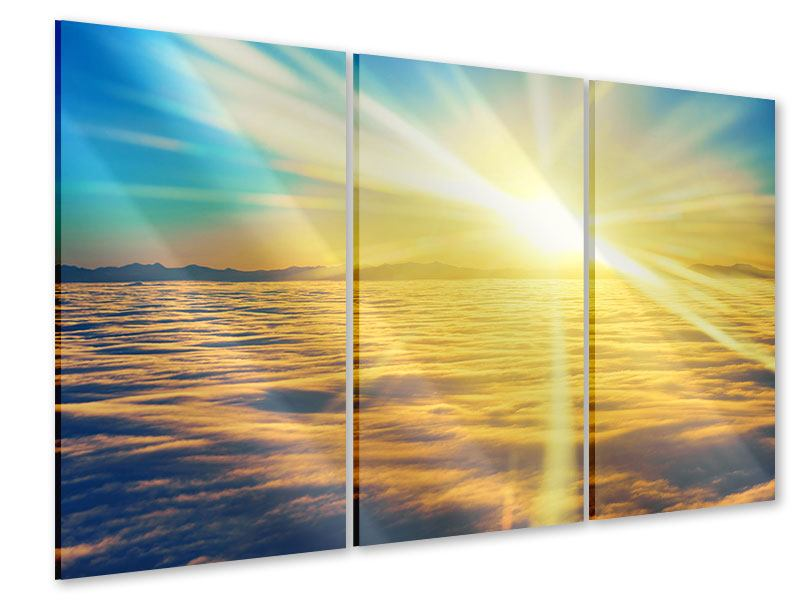 Acrylglasbild 3-teilig Sonnenuntergang über den Wolken