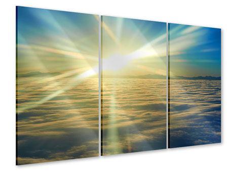 Acrylglasbild 3-teilig Sonnenaufgang über den Wolken