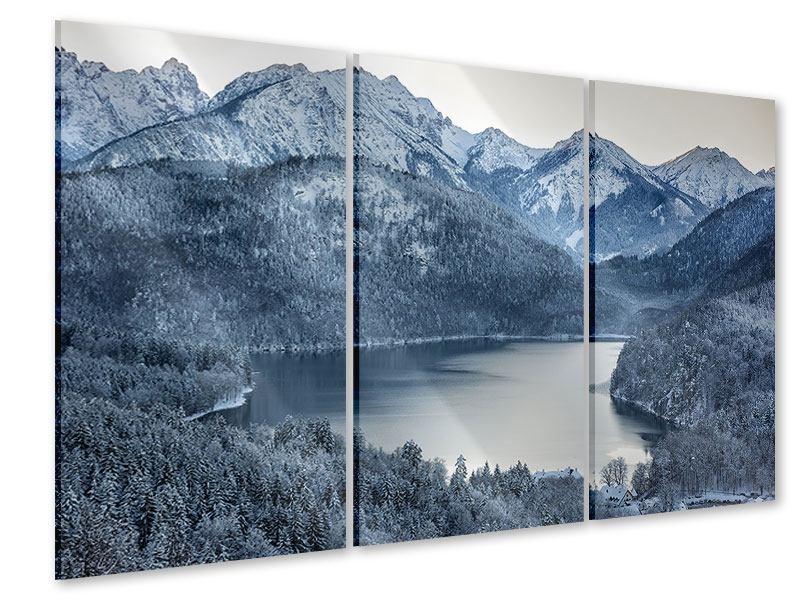 Acrylglasbild 3-teilig Schwarzweissfotografie Berge