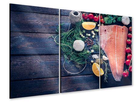 Acrylglasbild 3-teilig Fangfrischer Fisch