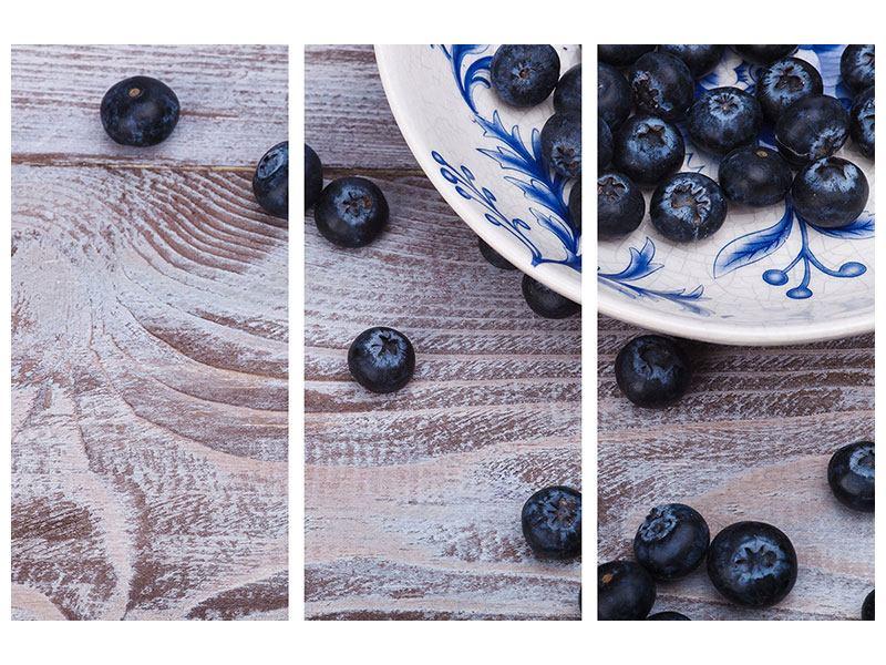 Acrylglasbild 3-teilig Blaubeeren