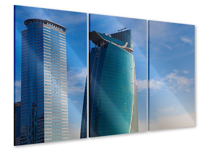 Acrylglasbild 3-teilig Zwei Wolkenkratzer