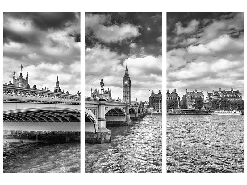 Acrylglasbild 3-teilig Westminster Bridge