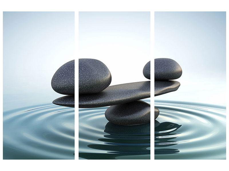 Acrylglasbild 3-teilig Steinbalance