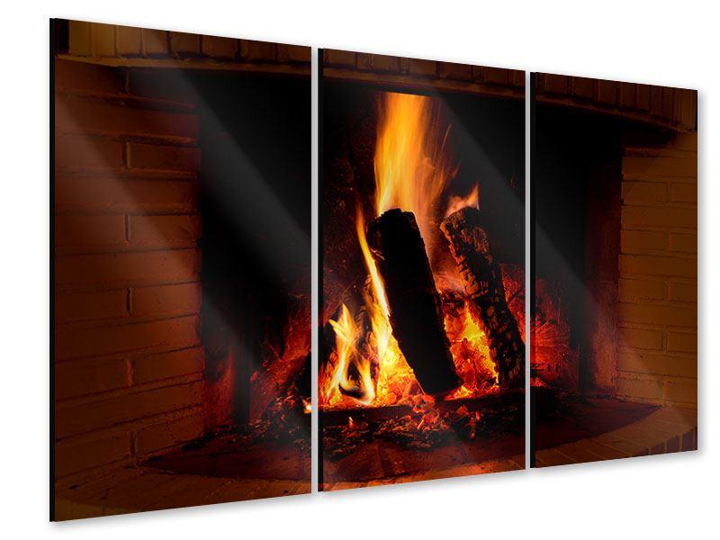 Acrylglasbild 3-teilig Feuer im Kamin