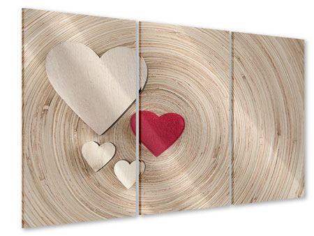 Acrylglasbild 3-teilig Herzen