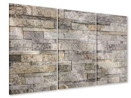 Acrylglasbild 3-teilig Elegante Steinmauer