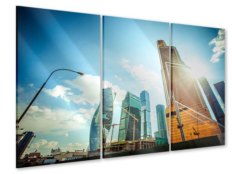 Acrylglasbild 3-teilig Wolkenkratzer Moskau