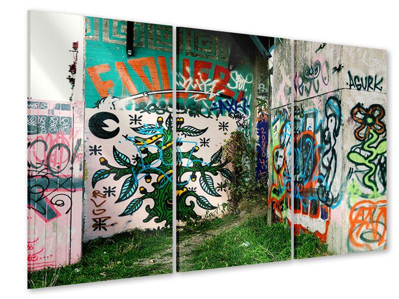 Acrylglasbild 3-teilig Graffiti im Hinterhof