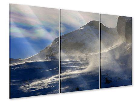 Acrylglasbild 3-teilig Mit Schneeverwehungen den Berg in Szene gesetzt