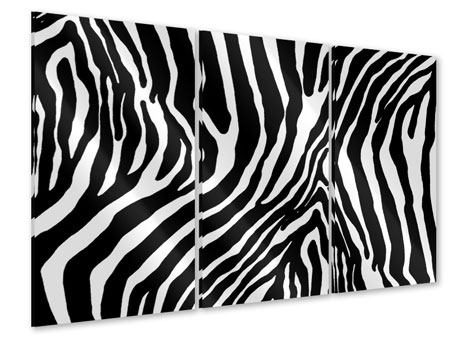 Acrylglasbild 3-teilig Zebramuster