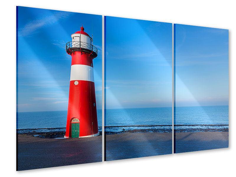 Acrylglasbild 3-teilig Sommer beim Leuchtturm